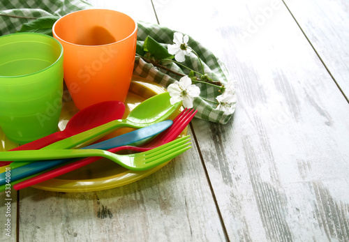 Picnic plastic dishware on wooden boards - 53340801