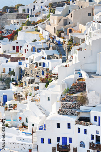 Typical houses and hotels on the slope of the caldera in Oia