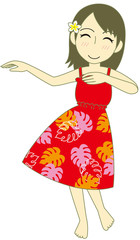 フラダンス パウスカート 赤