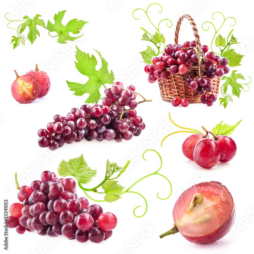 Collection of red grapes Isolated on white background