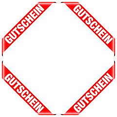 """4 Banner """"Gutschein"""" rot"""