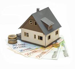Индивидуальный дом на банкнотах евро