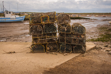 Old Lobster pots at Brancaster Norfolk England