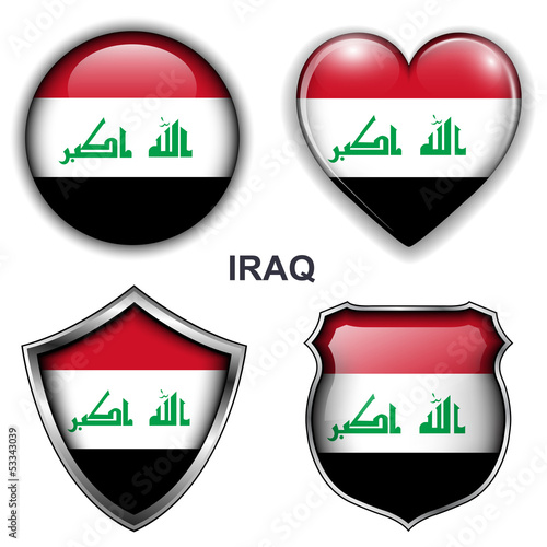 Iraq flag icons, vector buttons.