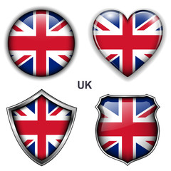 United Kingdom; UK flag icons, vector buttons.