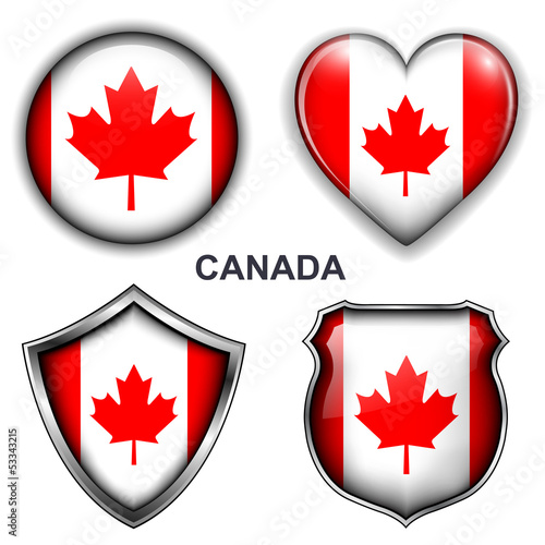 Canada flag icons, vector buttons.