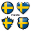 Sweden flag icons, vector buttons.