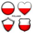 Poland flag icons, vector buttons.