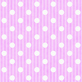 Pink and White Polka Dot and Stripes Fabric Background