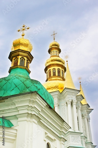 Domes of church of Nativity of the Holy Virgin at Kiev Pechersk