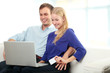 Young smiling couple shopping on internet