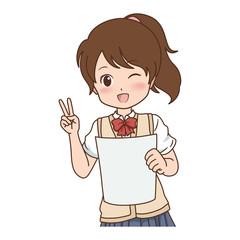 女の子/Vサイン