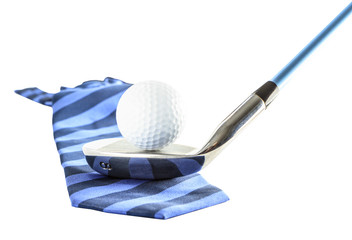 Golf ball on golf clubs with necktie