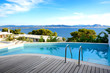 Sea view swimming pool in the luxury hotel, Peloponnes, Greece