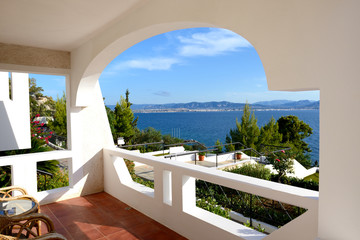 Sea view from apartment in the luxury hotel, Peloponnes, Greece