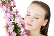 Beautiful face of spa woman with healthy clean skin.