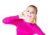 """Young happy woman gesturing """"call me"""""""