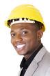 Happy successful businesman in helmet.