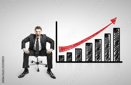 businessman and drawing graph