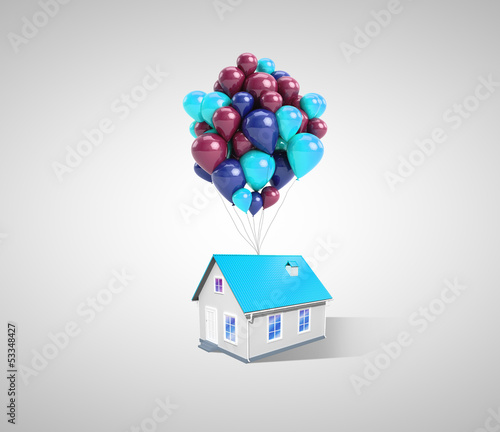 house and balloons