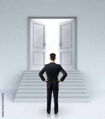 man and  doors