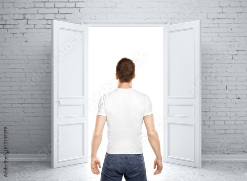 man and opened door