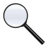 magnifying glass on white background, vector illustration