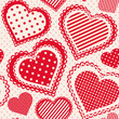 Seamless pattern with dotted hearts. Vector colorful background.