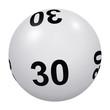 Loto, boule blanche numéro 30