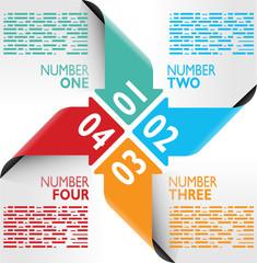 Infografica esempi frecce numeri fogli