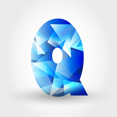 blue crystalline letter Q