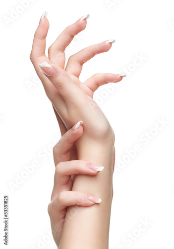 isolated hands with manicure