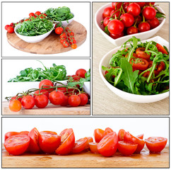 bowl of fresh green, natural arugula and cherry tomatoes