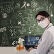 Beautiful scientist work with laptop on chalkboard background
