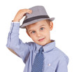 Greeting cool pretty stylish little boy isolated. Clipping paths