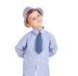 Cool pretty stylish little boy isolated on white. Clipping paths