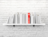 Fototapety blank books on a shelf and one with idea cover