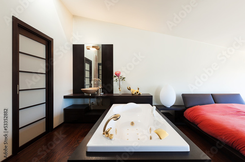 interior luxury apartment, beautiful bedroom with bath