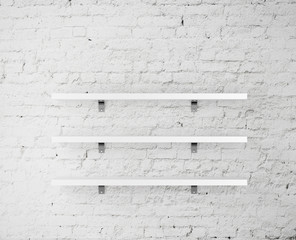 wall with shelves