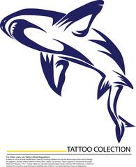 Comical cartoon tattoo shark character on white background