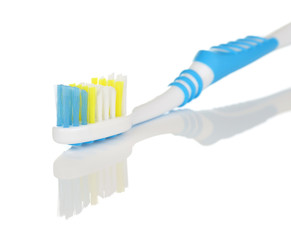 Blue and White Toothbrush Close Up