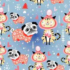 texture in love cats and pugs winter.