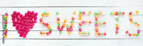 Poster I love sweets written with candies