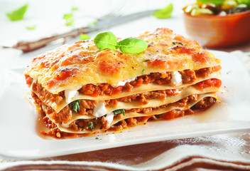 Traditional lasagna with bolognese sauce