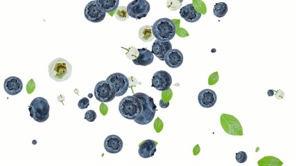 Blueberries falling down and forming a heart on white background
