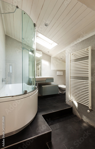 interior,.modern bathroom in an old loft