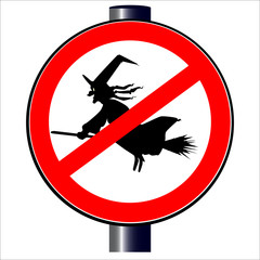 A no witches spoof traffic sign