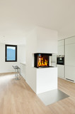 interior new house, modern kitchen with fireplace