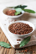 Brown lentils and fresh bay leaves