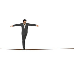 Conceptual business man on rope